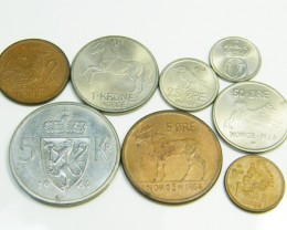UNC  SET OF 8 COINS FROM NORWAY 1964     CO56