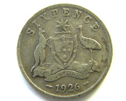 AUSTRALIAN SILVER 92.5%  ONE SIXPENCE   1926 CO 63
