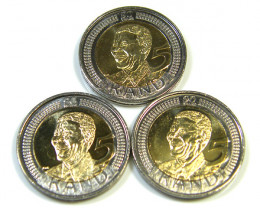 3X UNC NELSON MANDELA 90TH BI METAL COIN  5 RAND   CO 77