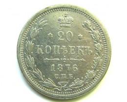 1876 RUSSIAN SILVER 20 KOPEK COIN  VF    CO 80