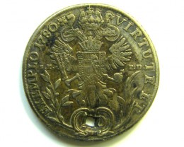 HOLED EMPEROR 11 SILVER COIN 1780 20 KREUZER CO83