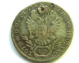 AUSTRIA -HUNGRAY 2 IMPERIAL COIN 18 C FRANC SILVER 1796 CO86