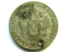 1834 HOLED FRANC LOS 20 KREUZER SILVER COIN CO87