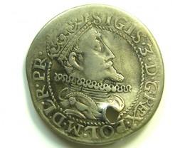 POLAND 1614 SIGISMUND 111 VASA SILVER HOLED COIN  CO91