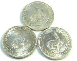 THREE UNC 5 SHILLINGS SOUTH AFRICA  SILVER COINS   CO -116