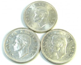 THREE UNC 5 SHILLINGS SOUTH AFRICA  SILVER COINS   CO -118
