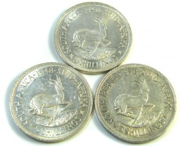 THREE UNC 5 SHILLINGS SOUTH AFRICA  SILVER COINS   CO -120