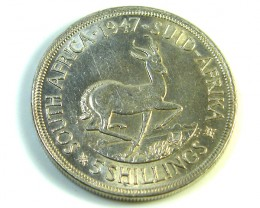 UNC 5 SHILLINGS SOUTH AFRICA  SILVER COINS 1947   CO 980