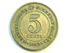 BRITISH MALAYSIA 5 CENTS SILVER COIN    1950 J326