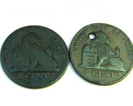 2 X 2 BELGIUM 2 CENTS COIN   1861    J329