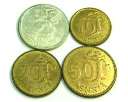 UNC SET 4 FINLAND 1966 COINS   J349