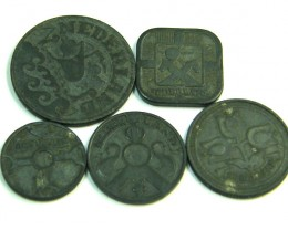 5 PIECE SET ZINK COIN S 1941     J354