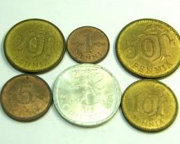 UNC SET 6 FINLAND 1965 COINS   J359