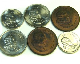 UNC SET 6 1965 SOUTH AFRICAN COINS   J 365