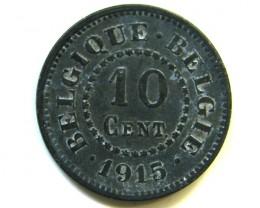 1915 BELGIUM 10 CENTS COIN J 371