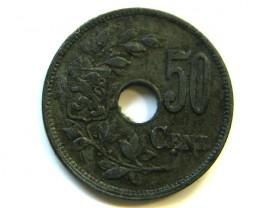 50 CENT 1918 BELGIUM COIN  J 372
