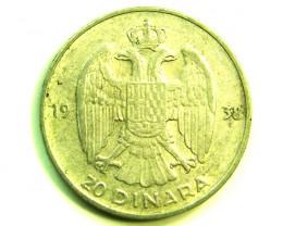 1938 RARE 20 DINAR COIN J  380