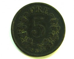 5 ORE NORWAY 1876 COIN J 383