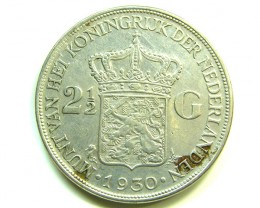 2 1/2 G HOLLAND SILVER 1930 COIN J 389