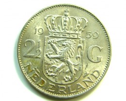2 1/2 G HOLLAND 1959 SILVER COIN  J 393