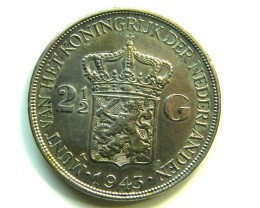 2 1/2 G 1949 SILVER HOLLAND COIN  J 396