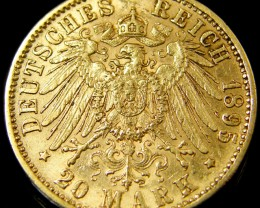 GOLD COIN GERMANY 1895 D BAVERIA 20 MARK CO 130