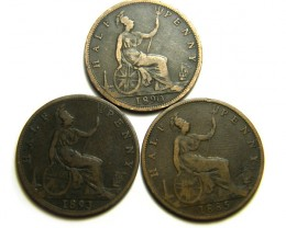 PARCEL THREE UK HALF  PENNY COINS  1885 to 1893  OP 441