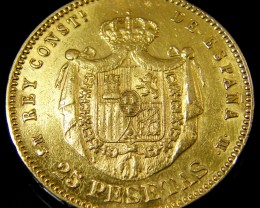 GOLD COIN SPAIN 25 PESTAS  1880    CO133