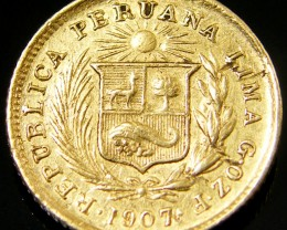 COLD COIN PERU 1/5 LIBRA 1907    CO 140