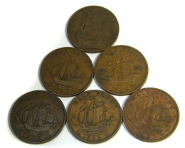 PARCEL SIX HALF PENNIES UK    1940 -  1960   J1