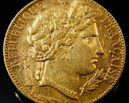 GOLD 20 FRANC GOLD COIN 1851 REPUBLIC SERIES  CO 157