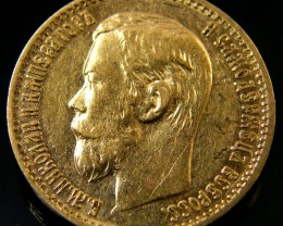 RUSSIA 1898 5 ROUBLES GOLD COIN  CO 163