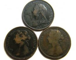 PARCEL THREE HALF  PENNY COINS   OP 444