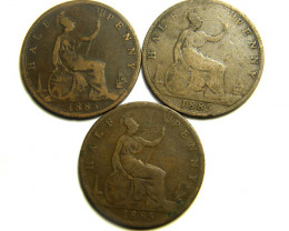 PARCEL THREE HALF  PENNY COINS   OP 446