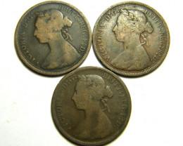 PARCEL THREE HALF  PENNY COINS   OP 448