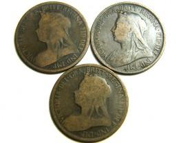 PARCEL THREE HALF  PENNY COINS   OP 449