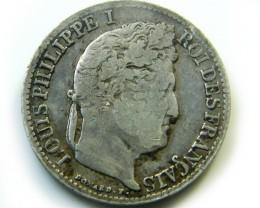 SCARCE FRANCE 1841 1/2 FRANC  COIN   J 453