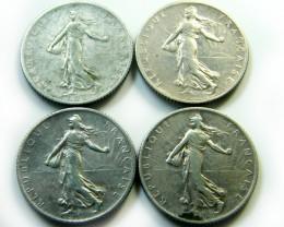FOUR COINS 1914-1917 FRANCE     J 457