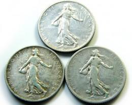 PARCEL 3 FRANCE1 FRANC  COINS 1901-1919   J 461