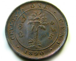 1890  ONE CENT CEYLON    COIN   J 487