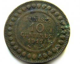 1917  10 CENTIMES TUNISIA  COIN   J 494