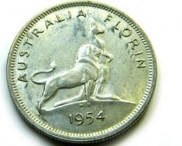 1954 FLORIN SILVER AUSTRALIA COIN   J 503