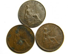 THREE FARTHING COINS           OP 462