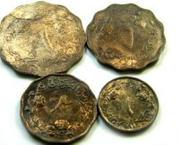 PARCEL FOUR TARNISHED SUDAN  1975 COINS   J513