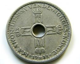 1 KRONE SWEDEN 1938   COIN   J521