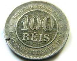 100 REIS BRAZIL 1889  COIN   J523