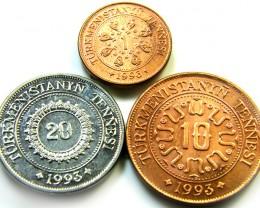 3 UNC TURKMENISTAN 1993 COINS   J537
