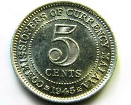 UNC BRITISH MALAYSIA 5 CENT 1945  SILVER   COIN   J542