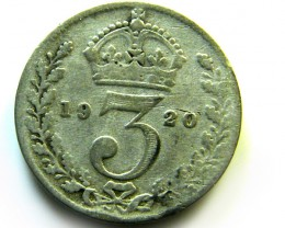 COLLECTRS   1920  UK THREEPENCE SILVER   COIN   J546