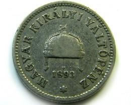 1893 HUNGRAY  10 FILLER COIN   CO -224